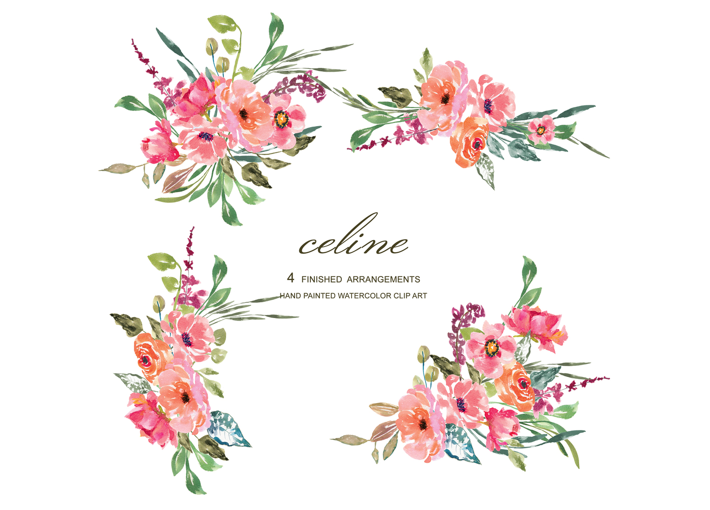 Watercolor rustic flower pink. Floral clipart