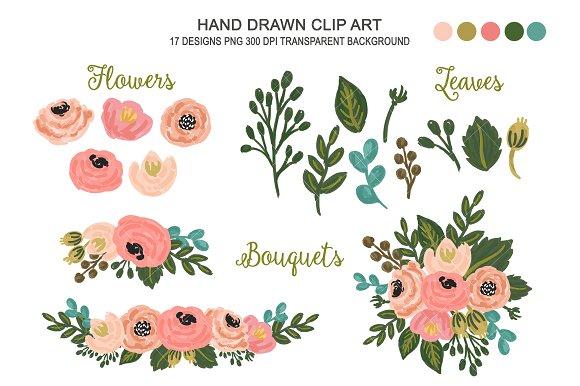 Floral clipart. Wedding flower art illustrations
