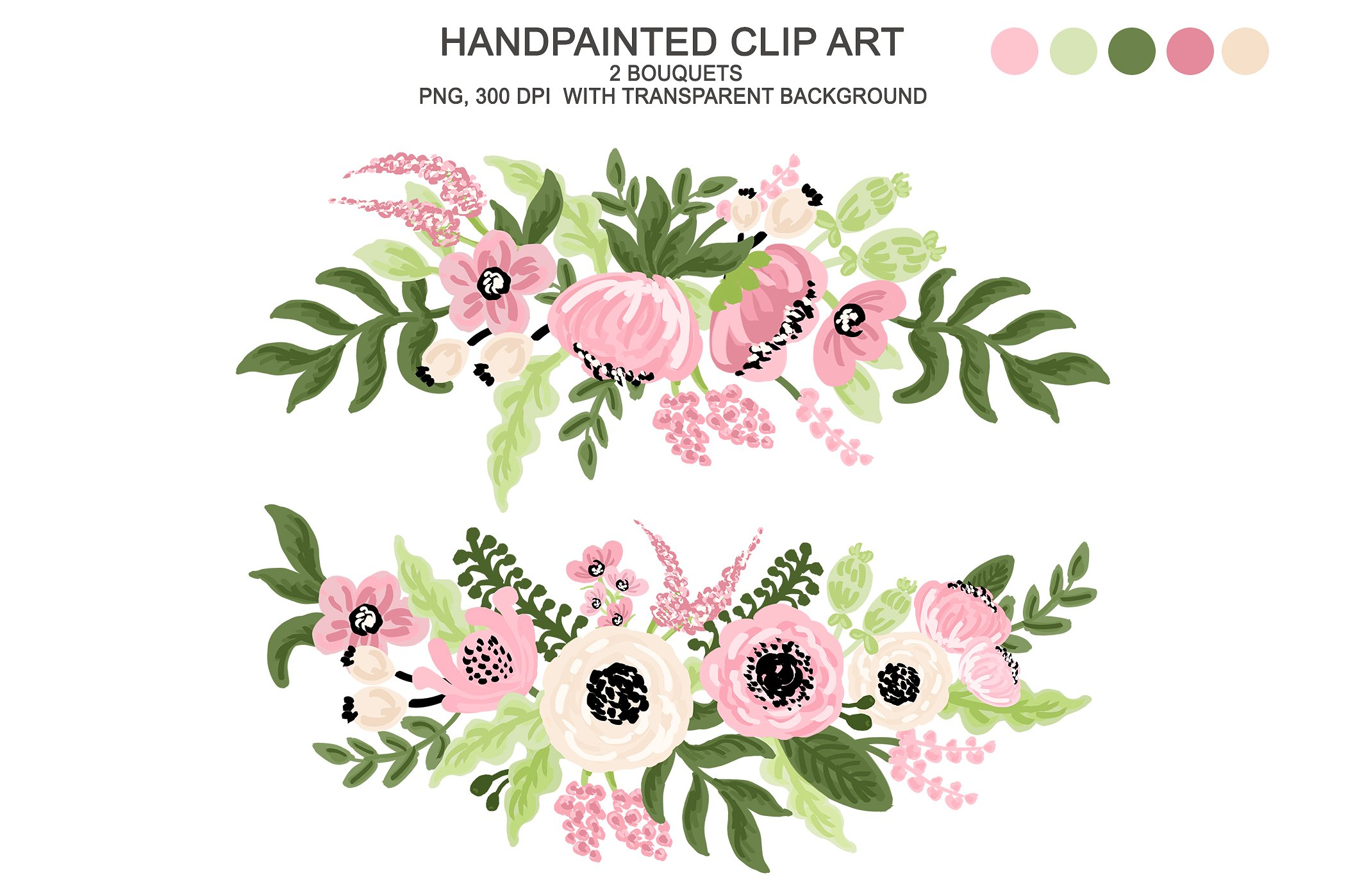 Digital watercolor flower illustrations. Floral clipart