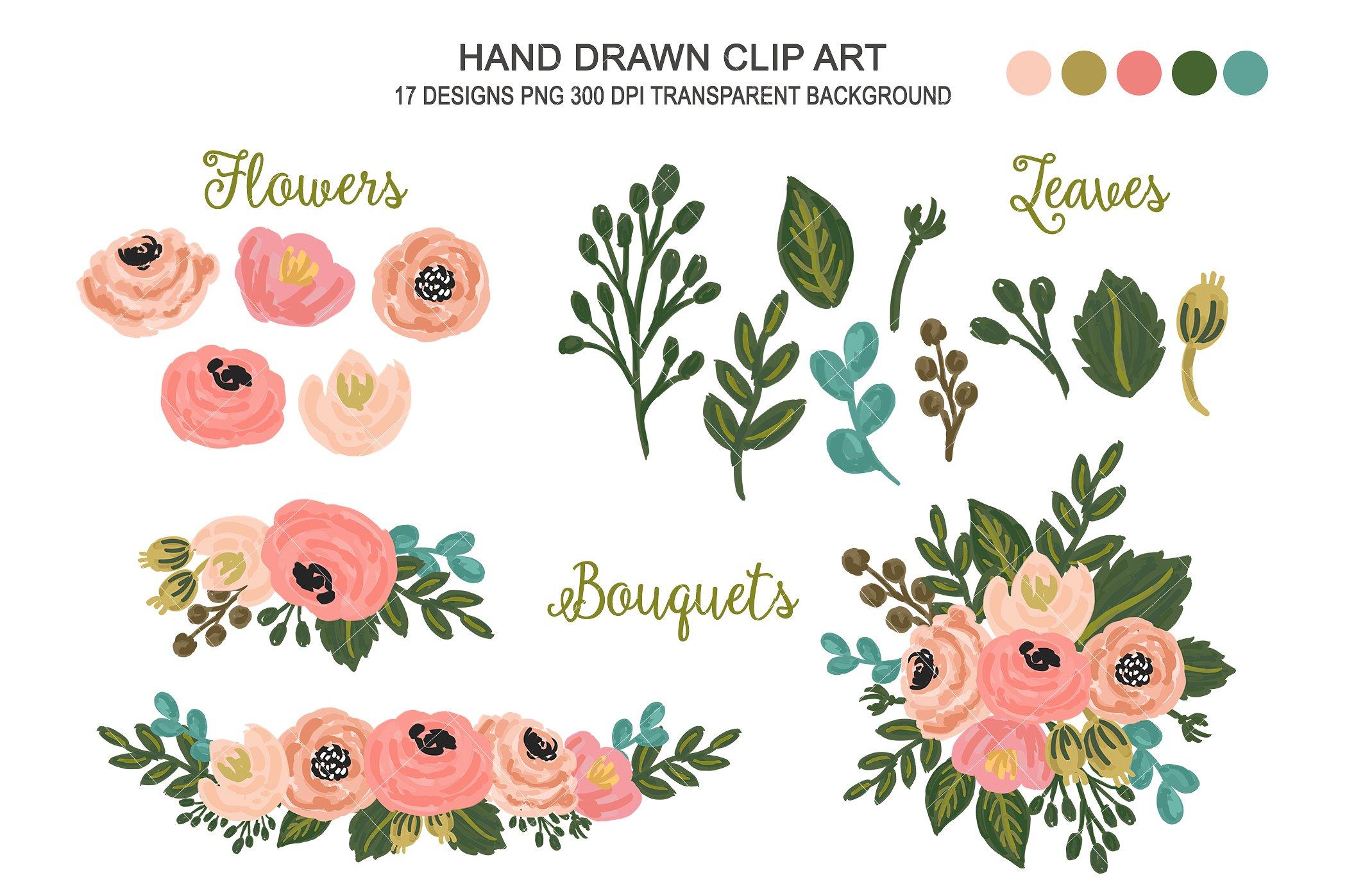 Wedding flower art illustrations. Floral clipart