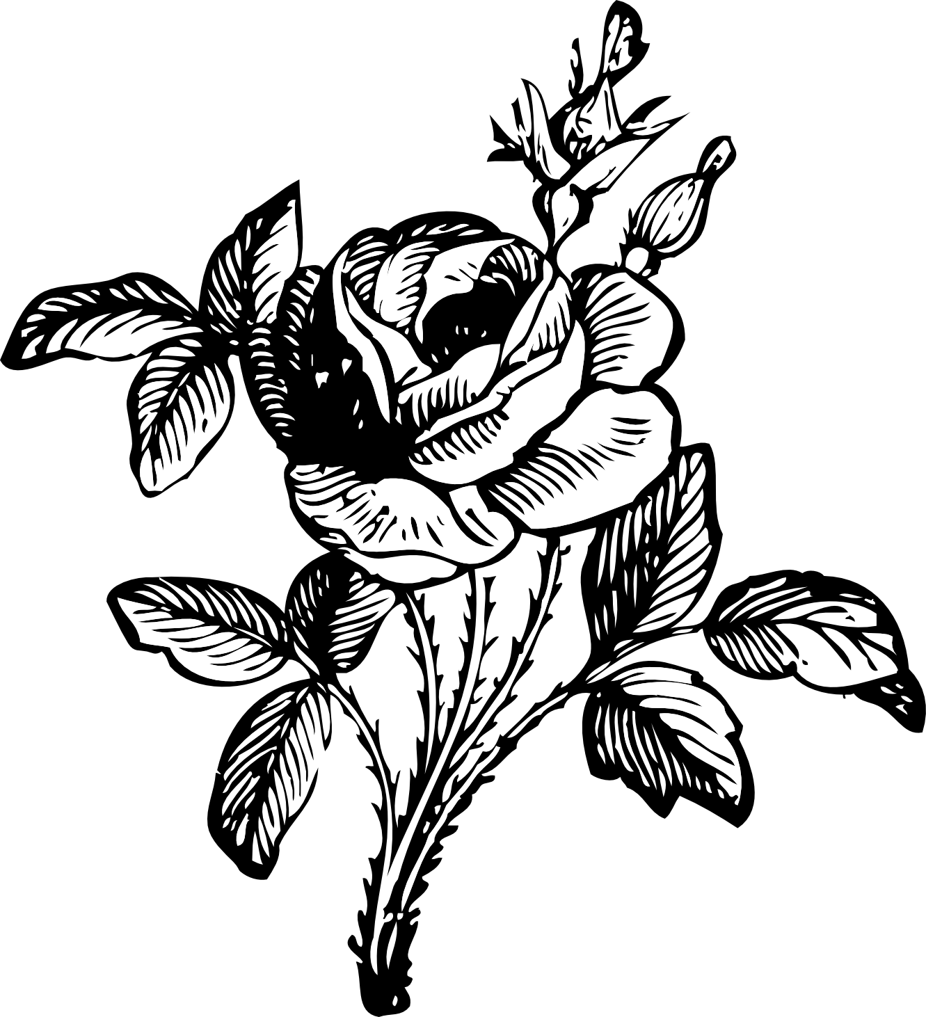 Flower bouquet panda free. Rose clipart black and white