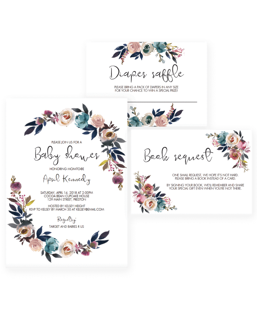 Baby shower invitation templates. Floral clipart boho