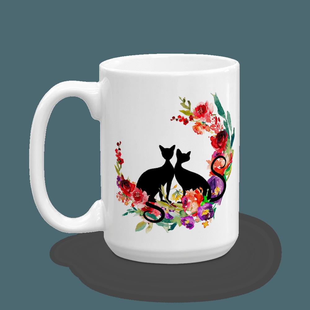 Floral clipart cat. Mug casa catnip