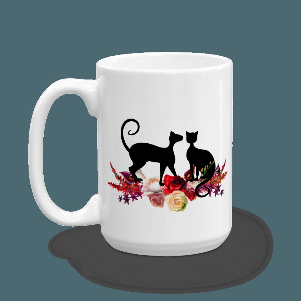 Mug casa catnip . Floral clipart cat