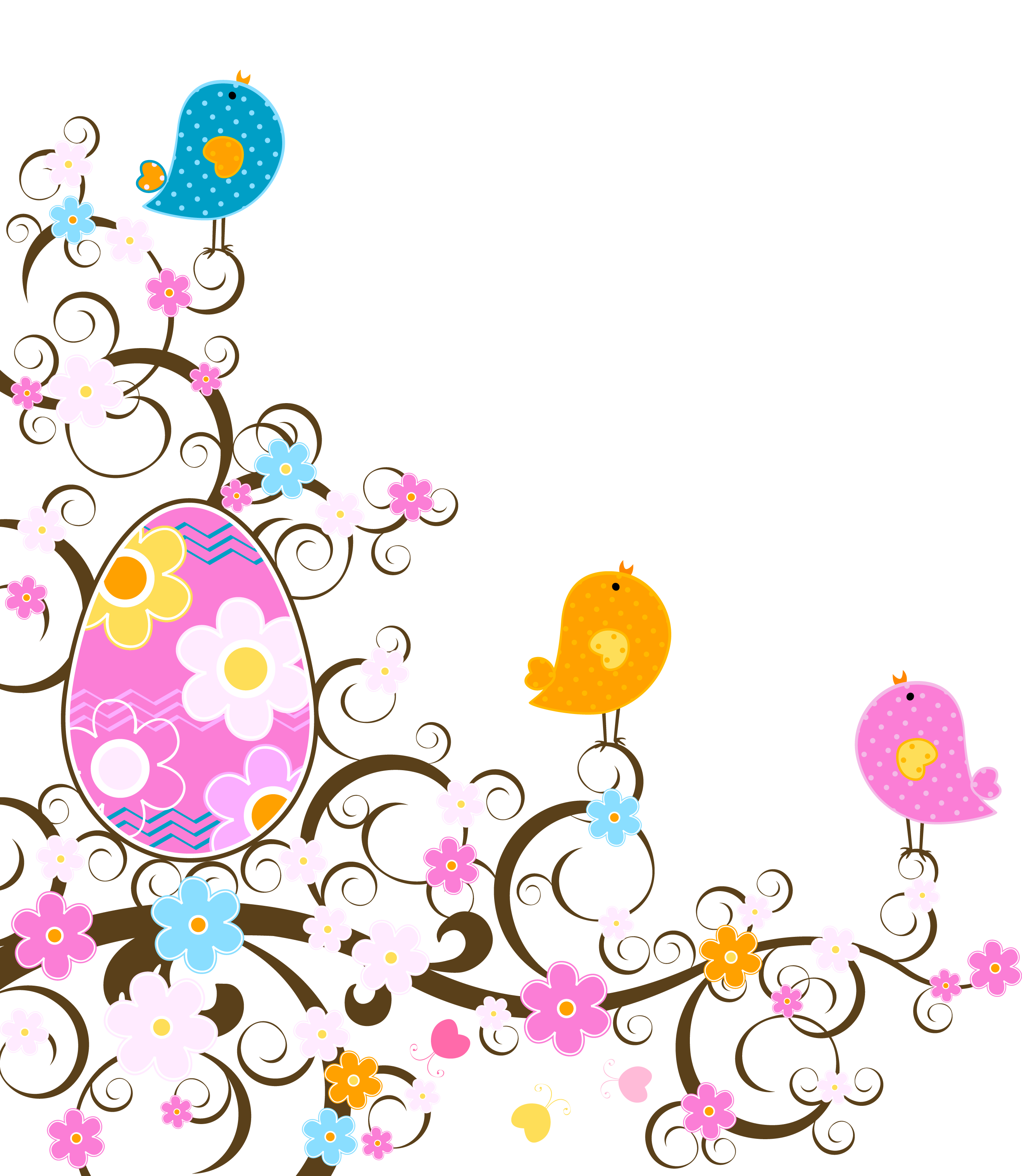 Decoration with flowers png. Floral clipart easter