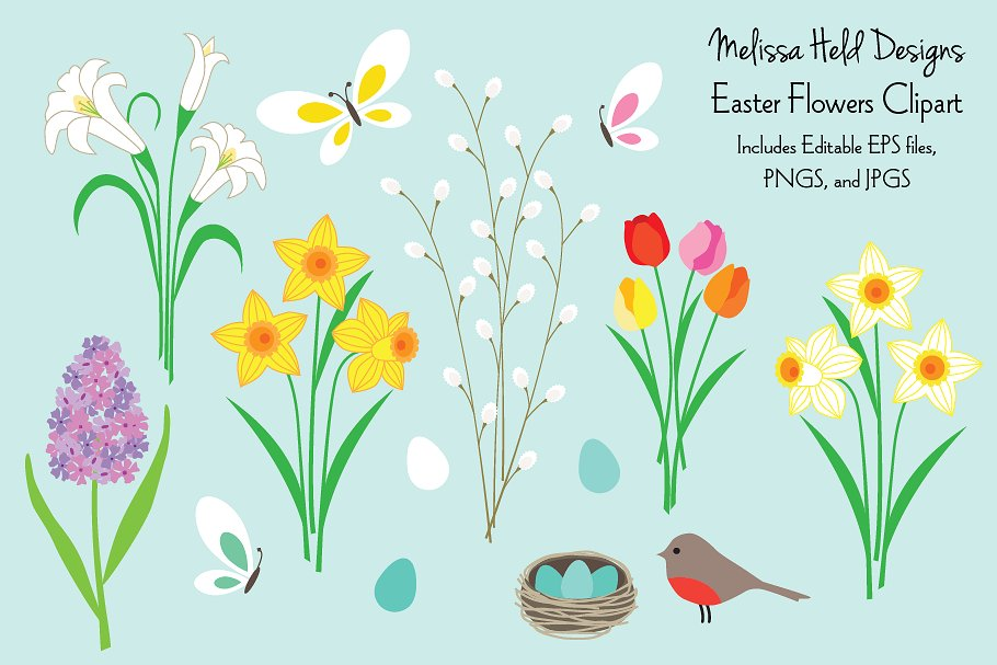 Floral clipart easter. Flowers
