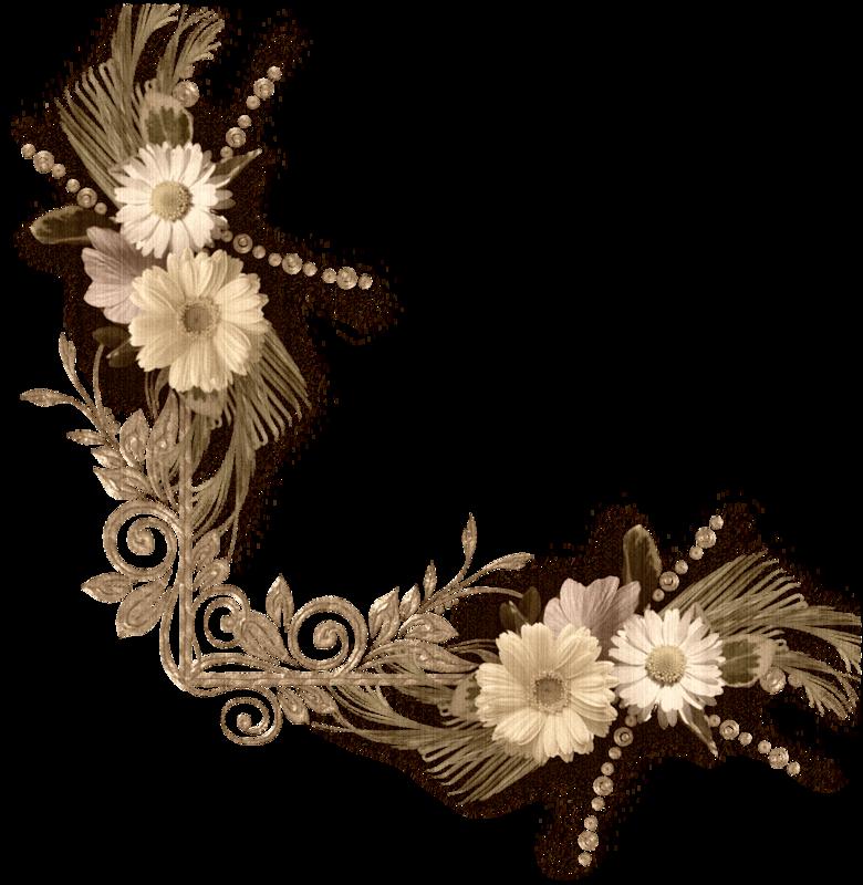 Floral clipart flower headband.  png corner scrapbook