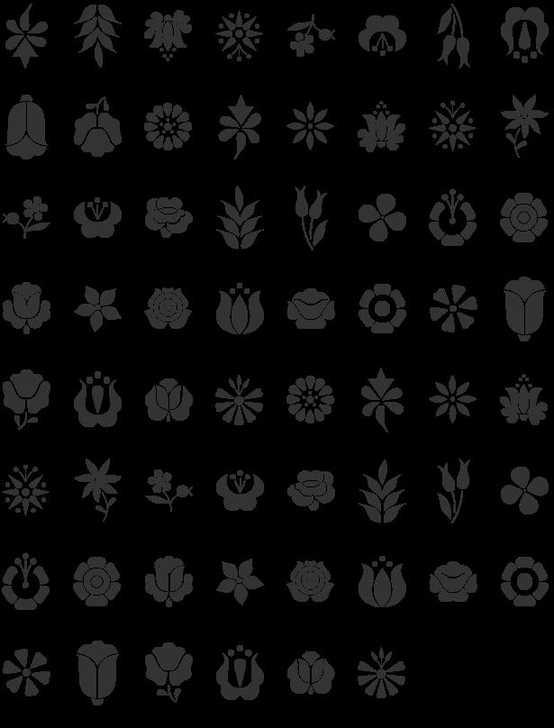 Kalocsai flowers dingbat specimen. Floral clipart font