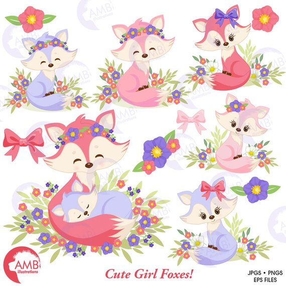 Combo foxes and digital. Floral clipart fox