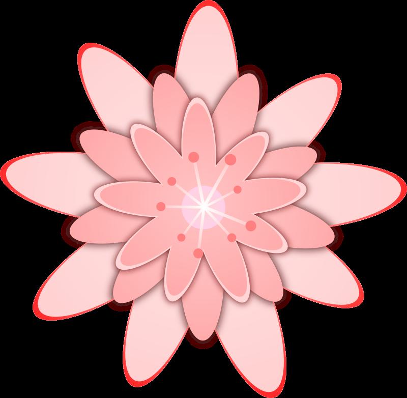 Pink flower medium image. Floral clipart fox