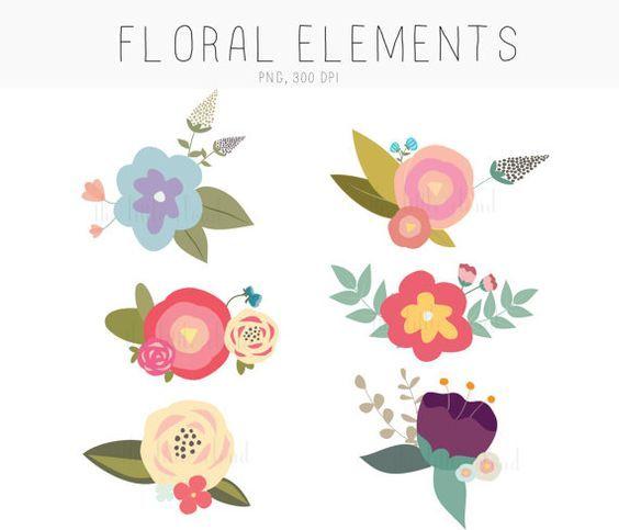 Clip art drawn blooms. Hand clipart flower