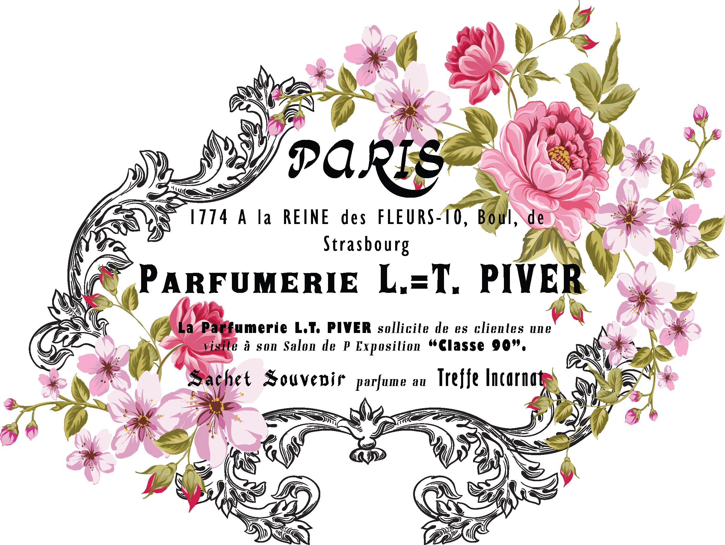 My design flower label. Paris clipart ephemera