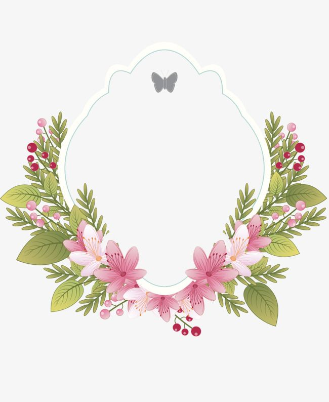 Frame retro border . Floral clipart label