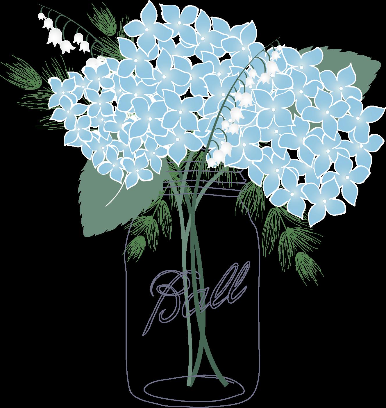 Trends in blog design. Floral clipart mason jar
