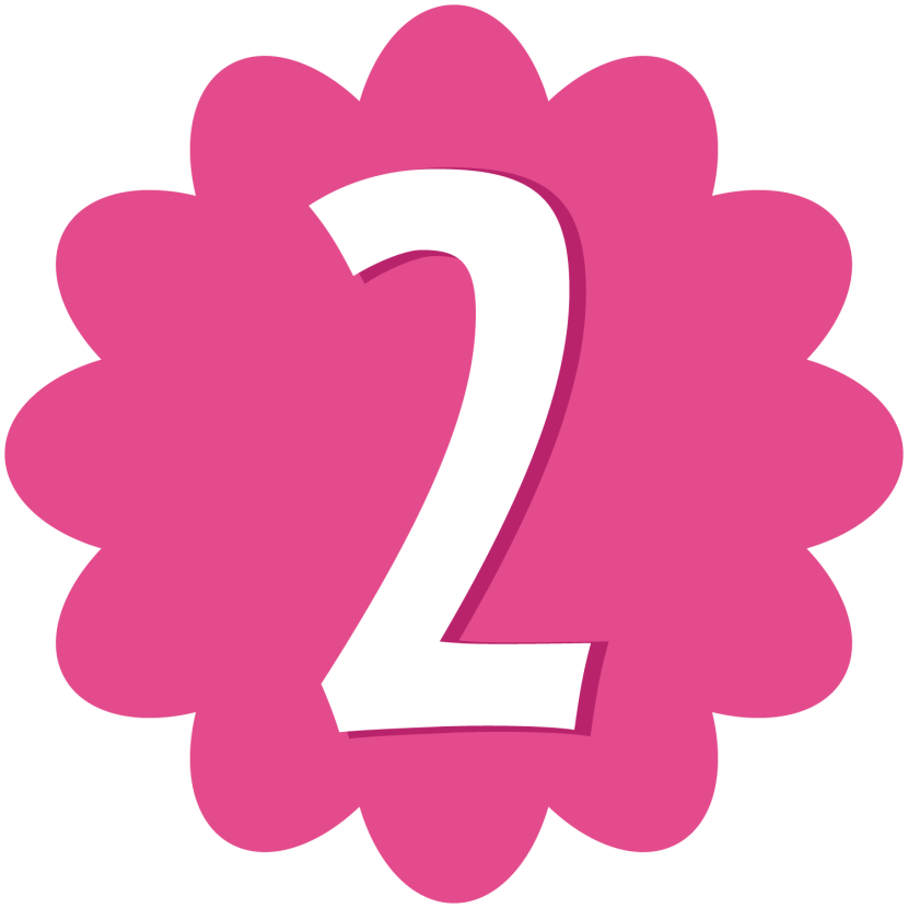 collection of pink. Number 1 clipart two