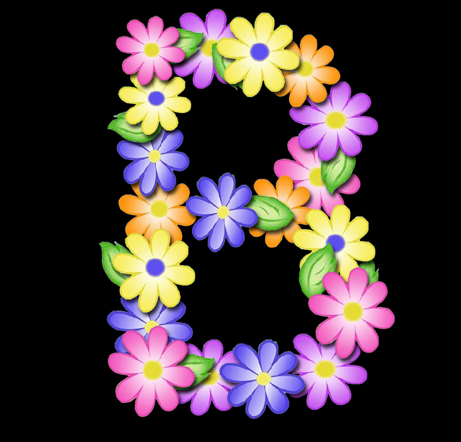 Alfabeto de primavera letras. Floral clipart pastel