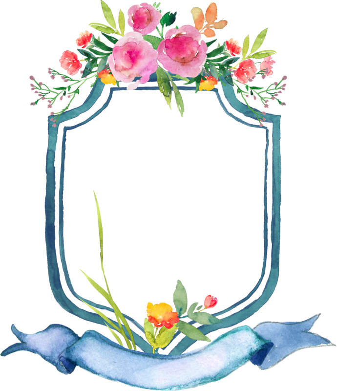 Ribbon flower spring colorful. Frame clipart summer