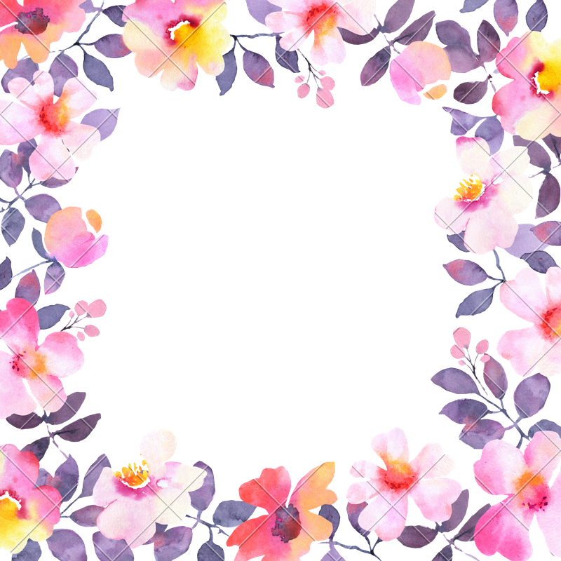 Modern watercolor flower frame. Square clipart pink square