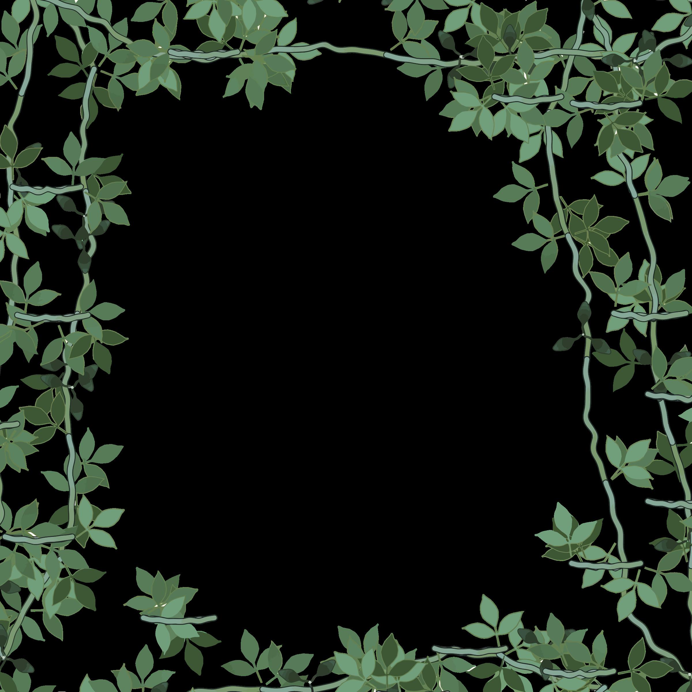 Green frame big image. Square clipart floral