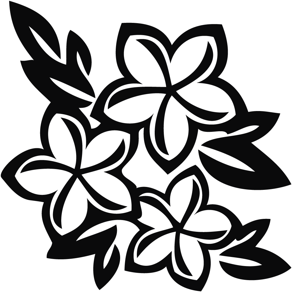 Flower clip art black. Hawaiian clipart hawaiian floral
