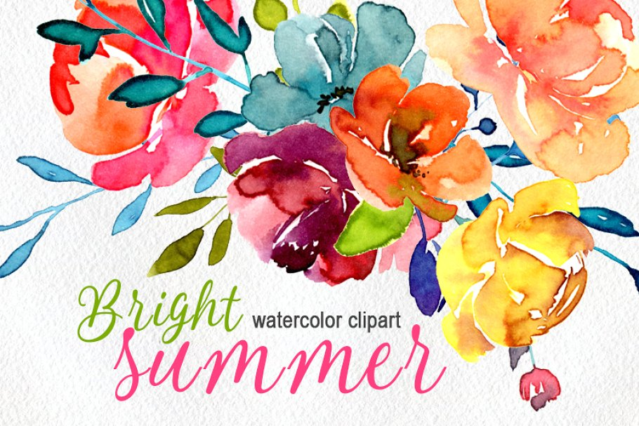 Bright watercolor flowers png. Floral clipart summer