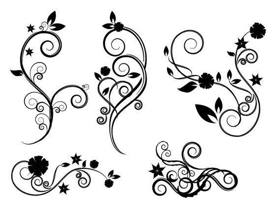 Flower swirl clip art. Flourish clipart small