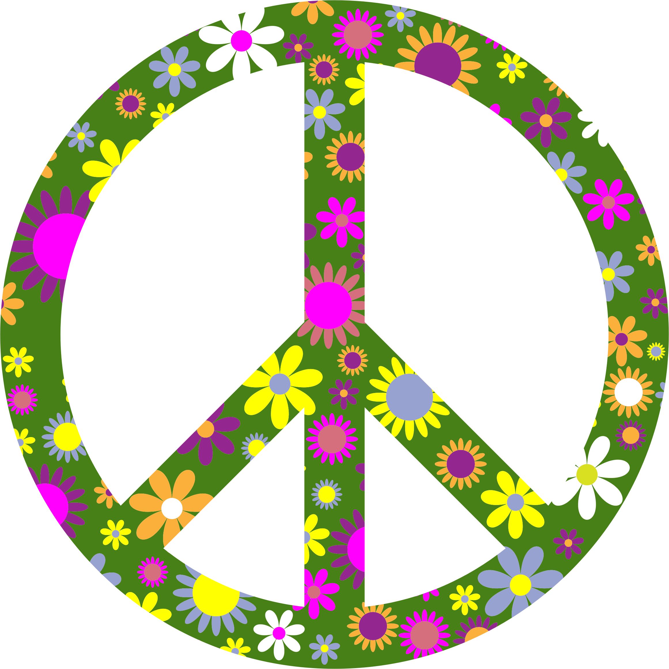 Retro floral sign big. Peace clipart flower