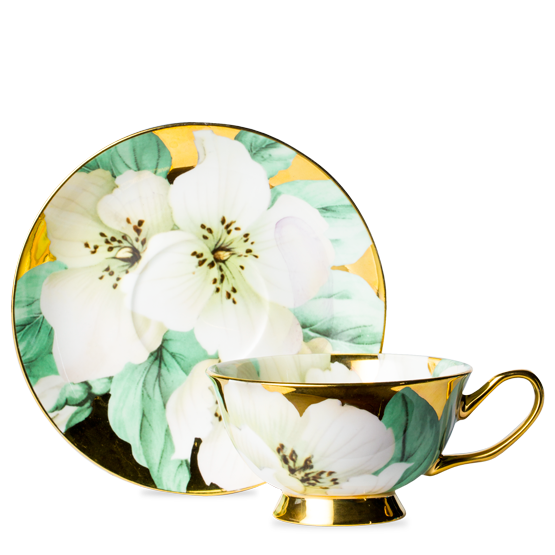 Floral clipart teacup. White poppy luscious cup
