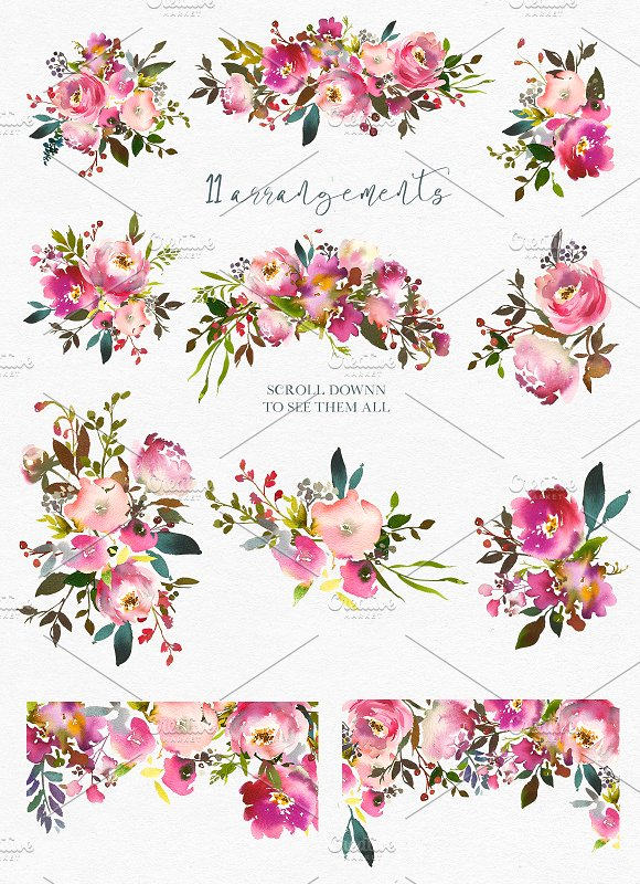 Fresh scent pretty illustrations. Floral clipart