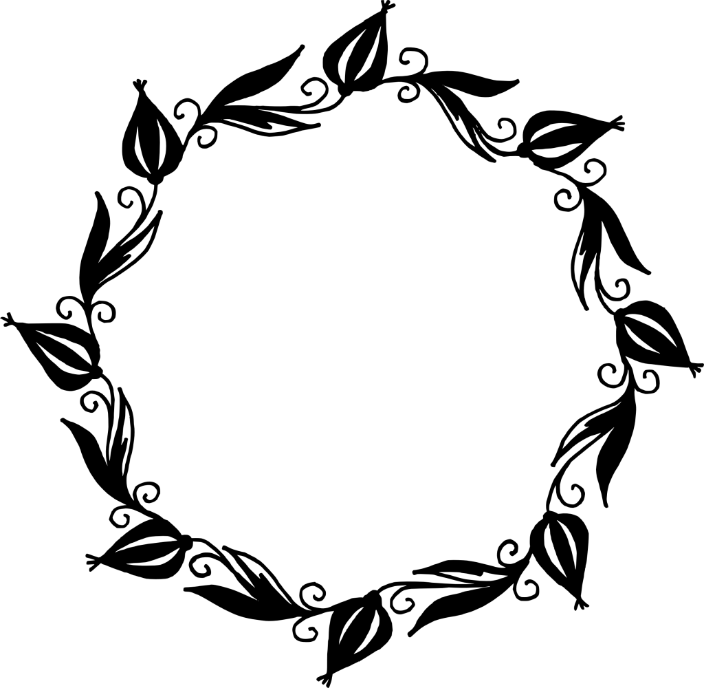 Floral frame png.  circle vector transparent