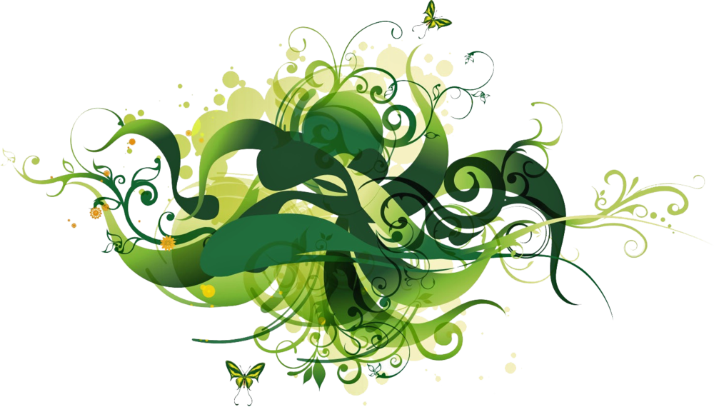 Green psd official psds. Floral vector png