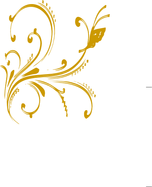 Floral vector png. Gold design with butterfly