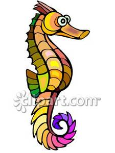 Rainbow seahorse royalty free. Florida clipart colored