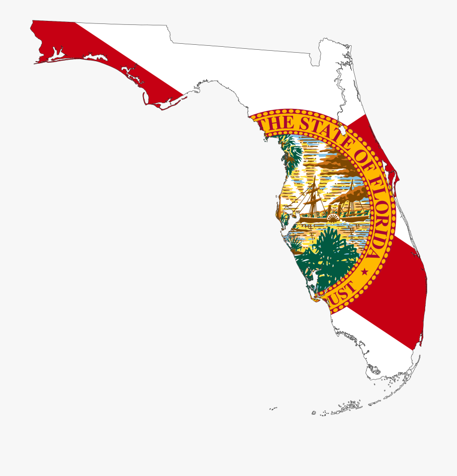 Florida clipart plain. Map with state flag
