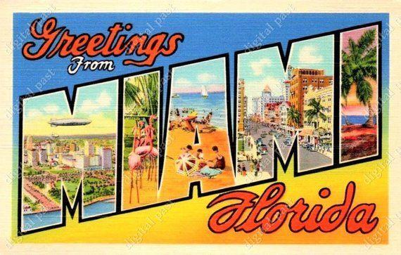 Florida clipart postcard. Miami greetings digital image