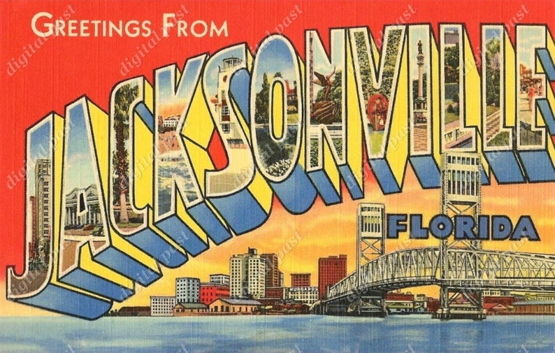 Greetings from jacksonville vintage. Florida clipart postcard