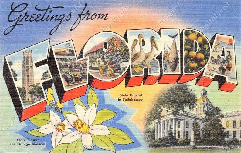 Large letter instant download. Florida clipart postcard