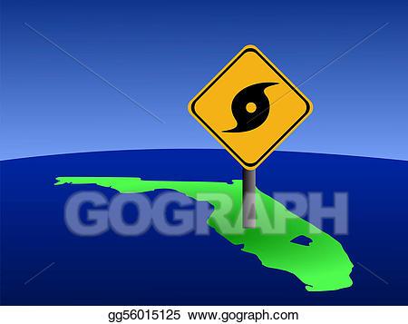 Hurricane clipart hurricane florida. Stock illustration map with