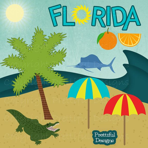 Florida clipart vacation florida. Clip art alligator palm