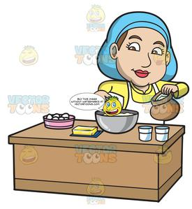 Flour clipart cake flour. A woman adding into