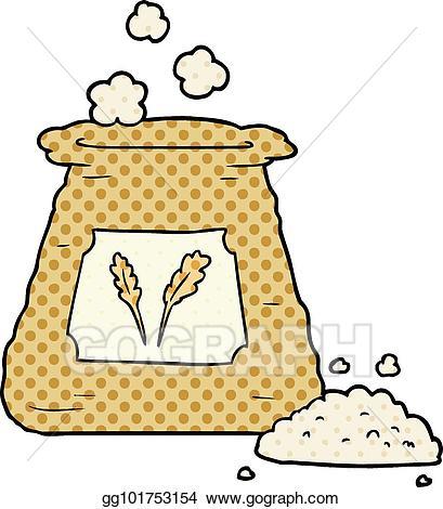 Flour clipart cartoon. Vector bag of illustration