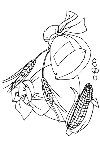Spikelets corncob and bags. Flour clipart coloring