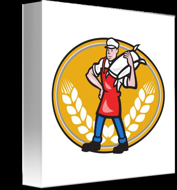 Flour clipart wheat flour. Miller carry sack oval