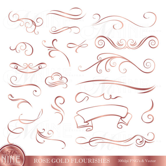 Flourish clipart. Rose gold flourishes clip