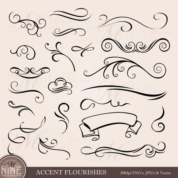 Accent clip art elements. Flourishes clipart design line