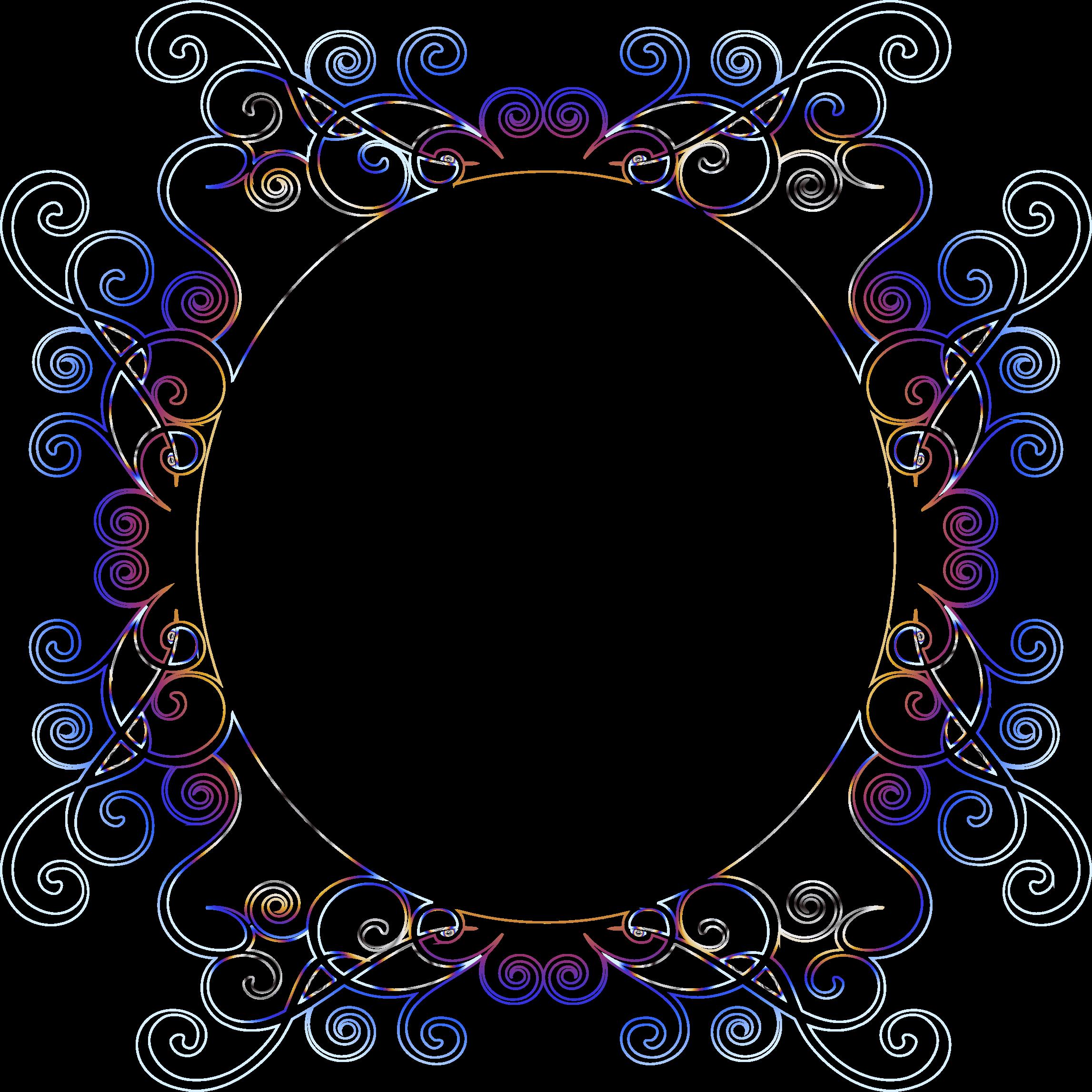 Flourishes clipart border. Prismatic flourish frame no