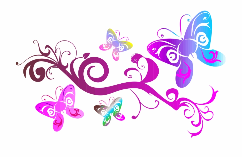 Flourish clipart butterfly. Clip black and white