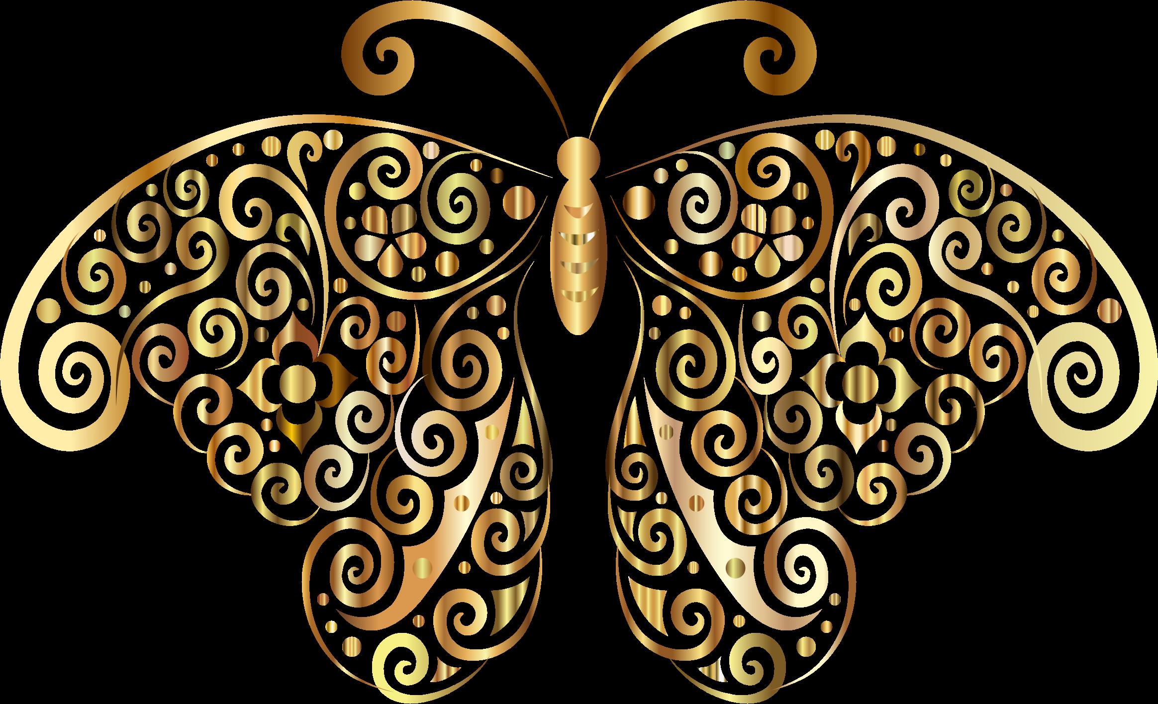 Prismatic floral silhouette no. Flourish clipart butterfly
