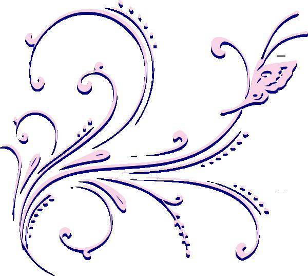 Flourish clipart butterfly. Pink clip art at