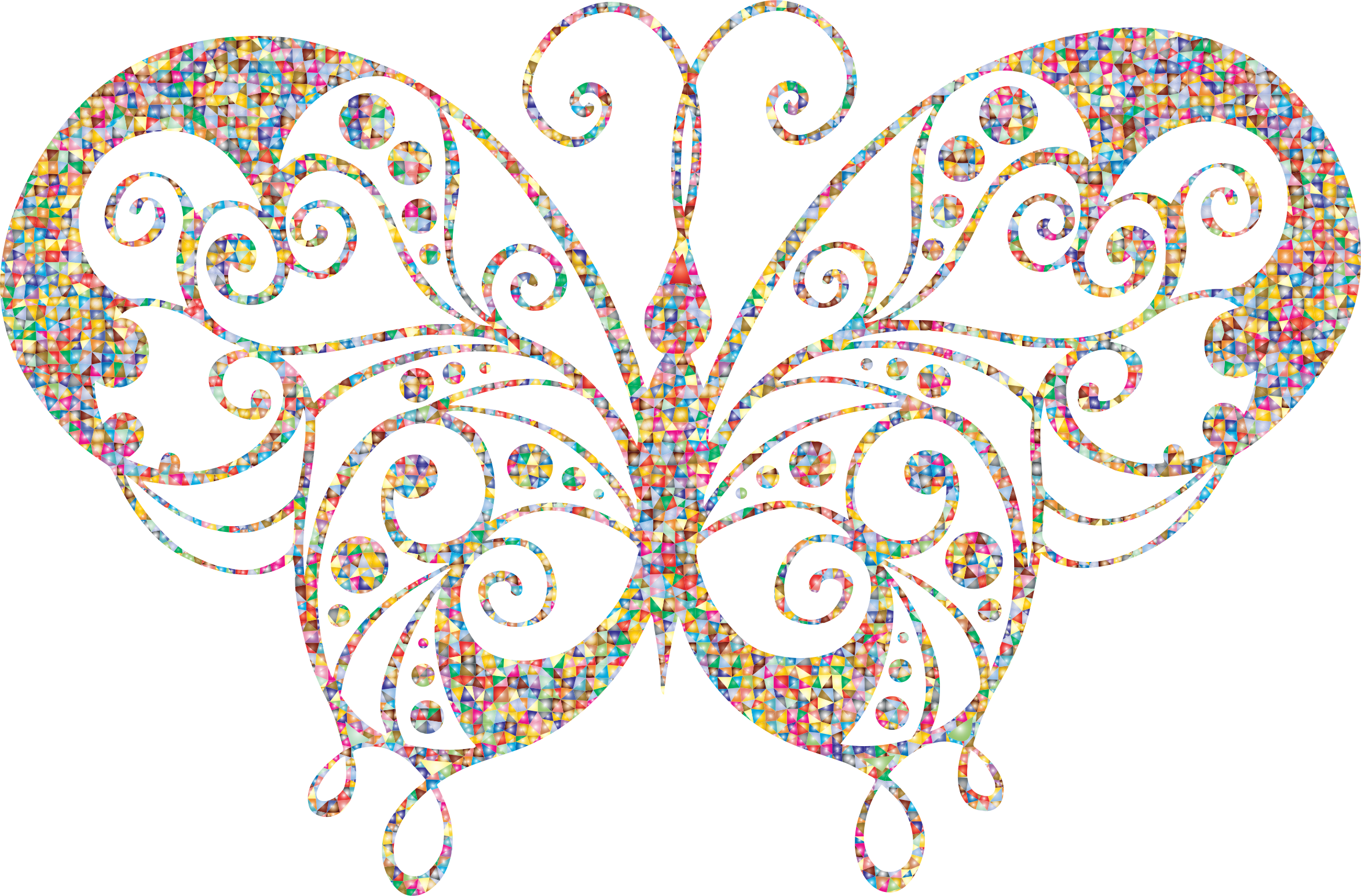 Polygonal candy silhouette big. Flourish clipart butterfly